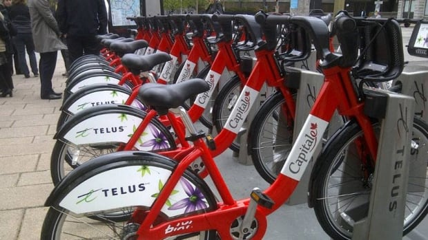 Bixi bikes in Ottawa, one of the first cities where Bixi expanded. The capital's bike-sharing system has since been taken over by Miami-based CycleHop.