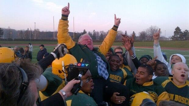 Toronto Mayor Rob Ford is hoisted by members of the Don Bosco Eagles after their victory on Nov. 21, 2012. This photo was tweeted by his press secretary, George Christopoulos.