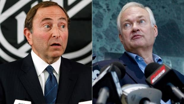 NHL commissioner Gary Bettman, left, and NHLPA Donald Fehr, right, both reiterated their cases regarding a new collective bargaining agreement Thursday in New York.
