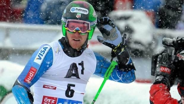 Ted Ligety celebrates after winning an alpine ski, men's World Cup giant slalom in Soelden, Austria on Sunday.