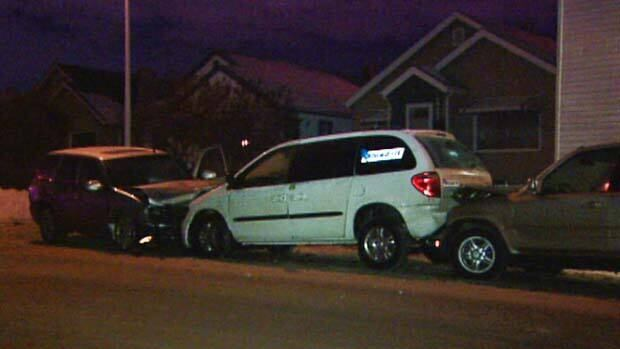 A driver slammed into a number of cars after hitting a taxi and a police car in downtown Edmonton. He was later charged with impaired driving and criminal hit and run.