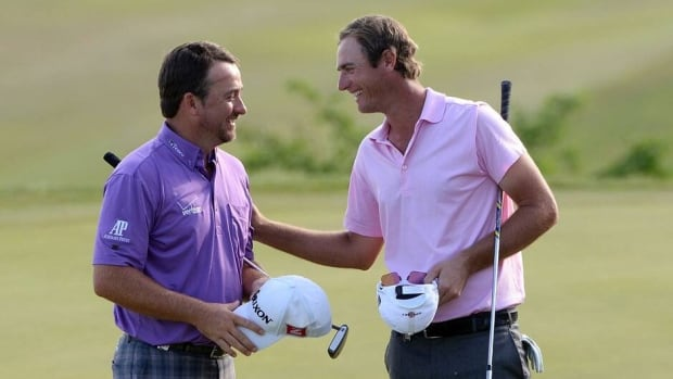 Graeme McDowell, left, defeated Nicolas Colsaerts, right, in a quarter-final match Saturday at the World Match Play Championship. Colsaerts beat McDowell in last year's final.