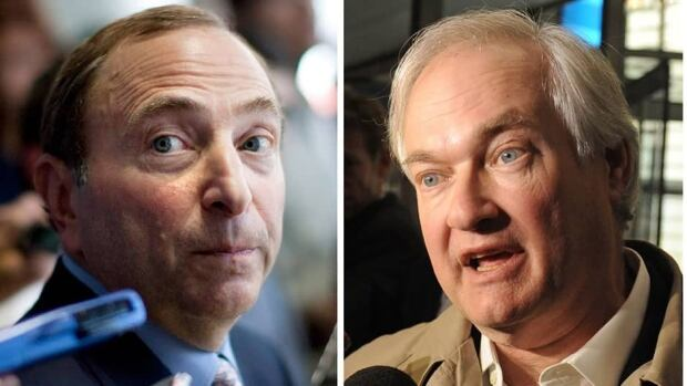 This photo combo shows NHL Commissioner Gary Bettman, left, and Donald Fehr, executive director of the NHL Players' Association.