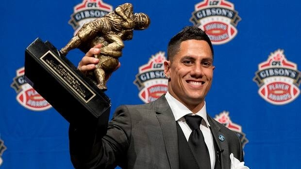 Toronto Argonauts receiver Chad Owens poses with the trophy for Most Outstanding Player during the CFL awards show in Toronto Thursday, November 22, 2012.