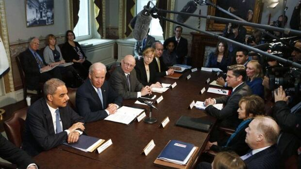 U.S. Vice-President Joe Biden speaks to representatives of gun safety and gun violence victims' groups at the White House on Wednesday. 'It's critically important [that] we act,' he said.