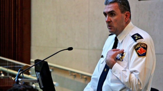 Chief Glenn De Caire delivering a proposed police budget increase of 3.71 per cent to council's general issues committee on Thursday afternoon. Councillors voted to table the request until a further meeting.