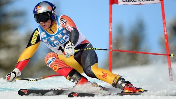 Erik Guay of Canada races down the hill during the men's downhill training run of the Lake Louise Winterstart World Cup in Lake Louise, Alberta.