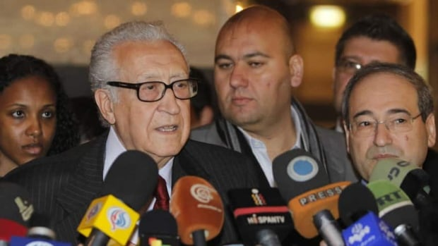 International peace envoy for Syria Lakhdar Brahimi speaks to the media after meeting Syrian President Bashar Assad in Damascus on Monday to discuss a solution to the country's 21-month-old conflict.