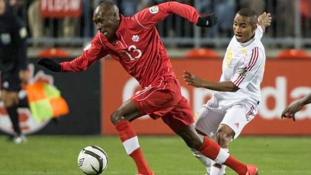 Canada's Atiba Hutchinson, left, also won the BMO Canadian Player of the Year award in 2010.