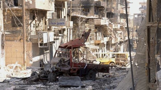 A general view shows the destruction in the al-Arqoub neighbourhood, after clashes between Free Syrian Army fighters and regime forces in Aleppo on Sept. 23.