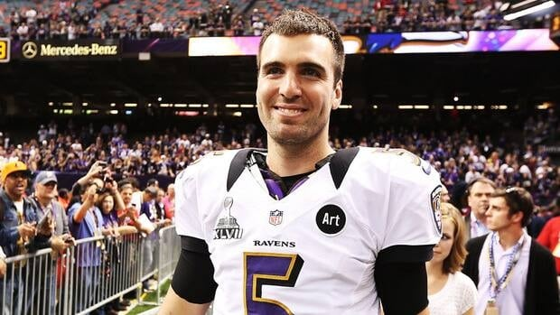 Super Bowl MVP Joe Flacco of the Baltimore Ravens celebrates after the Ravens won 34-31 against the San Francisco 49ers during Super Bowl XLVII.