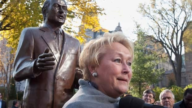 Pauline Marois, standing in front of a statue of former Quebec premier René Lévesque, said the province is ready for a female political leader.
