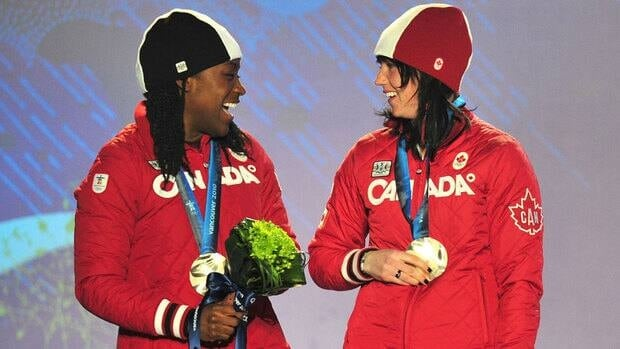 Shelley-Ann Brown, left, and Helen Upperton won the silver medal in women's bobsleigh at the 2010 Vancouver Olympics.