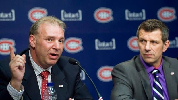 Michel Therrien, left, speaks alongside Montreal Canadiens' general manager Marc Bergevin after he was named the Habs' head coach this past summer.