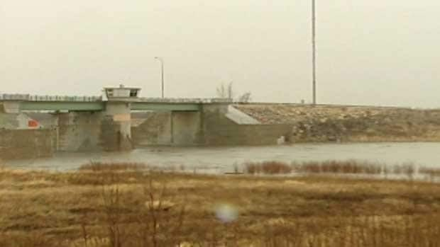 The Red River Floodway's gates opened at around 6 p.m. Monday.
