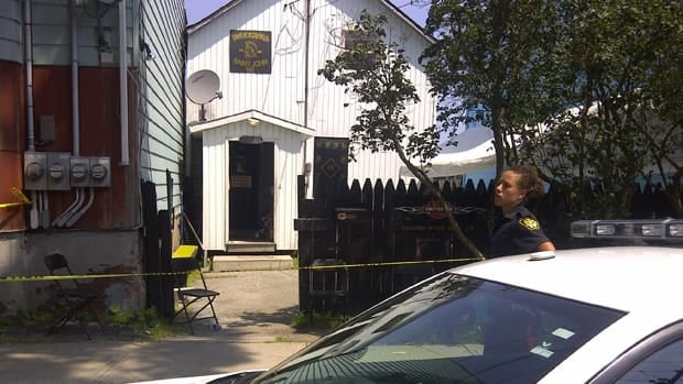 The Bacchus Motorcycle Club on Pitt Street taped off police continued to investigated the murder of Michael Thomas Schimpf earlier this month.