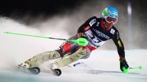 Ted Ligety skis in the slalom section on his way to victory in the men's super combined during the alpine ski world championships Monday in Schladming, Austria.