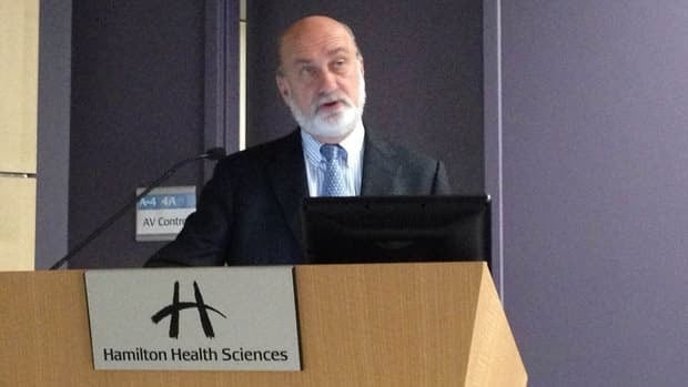 Dr. Bill Evans, president of the Jurivinski Cancer Centre, delivers the findings of the Cancer System Quality Index Wednesday.