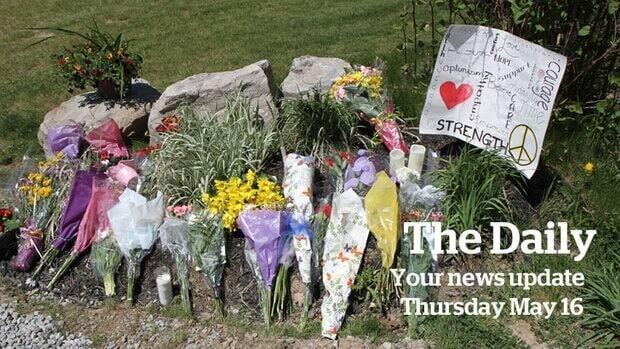 Flowers outside the Bosma residence Thursday in rural Ancaster.