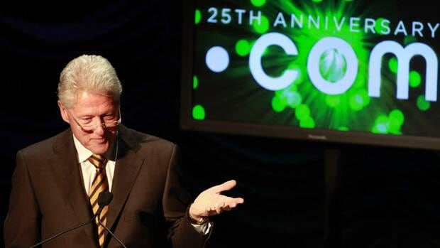 "Former President Bill Clinton gives the keynote address at the 25 Years of Dot Com Policy Impact Forum in Washington in March 2010. Bidding will begin this week for words and brand names such as "".sport,"" ''.NYC"" and "".bank"" to join "".com"" as online monikers."