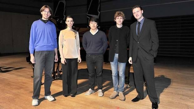 The five 2012 Honens International Piano Competition finalists are (from left) Lorenzo Cossi, Maria Mazo, Jong-Hai Park, Pavel Kolesnikov and Eric Zuber.
