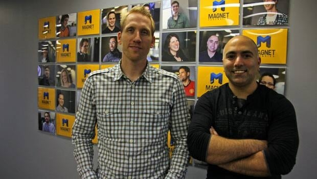 Jad Saliba, pictured on the right, and Adam Belsher both left their jobs in 2011 to start data surveillance company Magnet Forensics. Saliba was a former police officer and Belsher worked at BlackBerry on the business side.