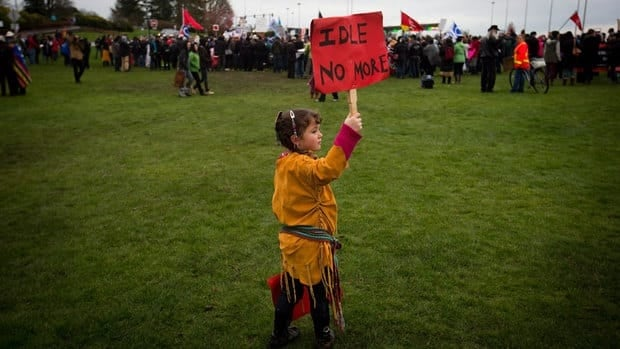 Four-year-old Lily Mervyn, the daughter of Métis and Cherokee parents, attends an Idle No More demonstration at the Douglas-Peace Arch near Surrey, B.C., on Jan. 5, 2013. Educated, internet-savvy youth who have been empowered by the Idle No More movement are First Nations' best hope of improving their circumstances, say aboriginal leaders