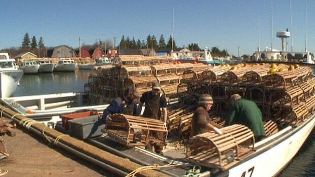Fishermen were busy loading lobster traps on to their boats Monday in preparation for setting day.