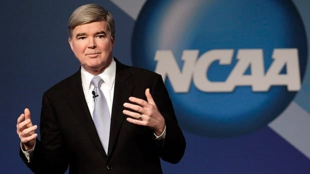 NCAA President Mark Emmert delivers his State of the Association speech during the annual convention in Indianapolis.