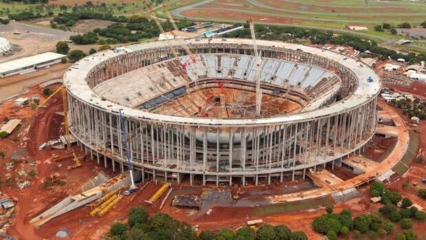 This January 2013 photo, released by World Cup Portal, shows an aerial view of the Mane Garrincha stadium, in Brasilia, Brazil.