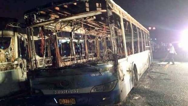 The bus caught fire during the rush-hour on Friday in the coastal city of Xiamen.