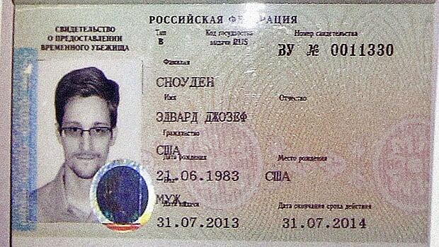 Edward Snowden's Russian asylum papers. Valid for a year, or until the mood in the Kremlin changes.