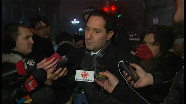 Montreal Mayor Michael Applebaum speaks to reporters after meeting with UPAC investigators who raided City Hall and municipal offices across Montreal on Tuesday.