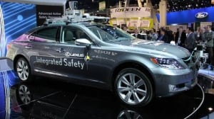 Toyota's Lexus self-driving car is exhibited at the 2013 Consumer Electronic Show in Las Vegas. The Japanese automaker is reluctant to call it a 'robot car.'