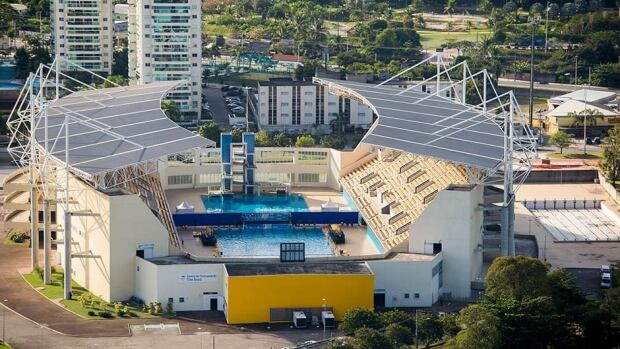 An aerial picture of the Maria Lenk Aquatic Center in Barra which will host diving and water polo during the 2016 Olympic Games on June 6, 2013 in Rio de Janeiro, Brazil.