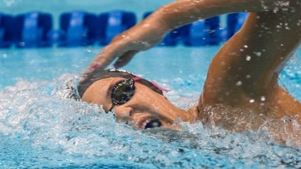 Canada's Alexa Komarnycky, seen here during the 2012 Canadian Olympic swimming trials in Montreal last March, picked up a pair of podium finishes in Orlando, Fla. on Saturday.