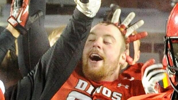 Linden Gaydosh, seen celebrating with University of Calgary teammates last year, had an impressive showing at the combine.