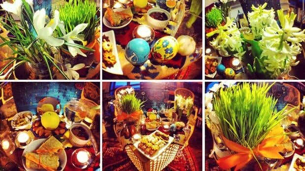 Nowroz is a holiday marking the start of the Persian new year. As part of the celebrations, families prepare a haft seen, a table set with specific items whose names begin with the letter 's' and which symbolize spring and the new year.