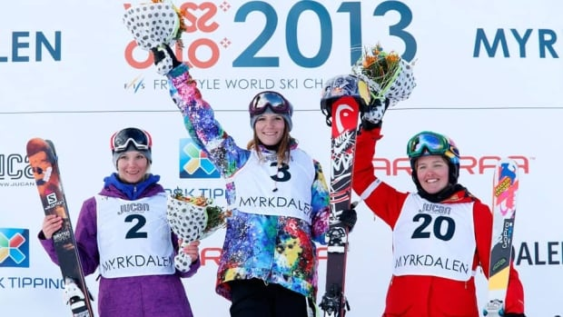 Kaya Turski, Canada, (centre) won the womens slopestyle final ahead of fellow Canadian Dara Howell, Canada (left) and American Grete Eliassen on Saturday in Voss, Norway.