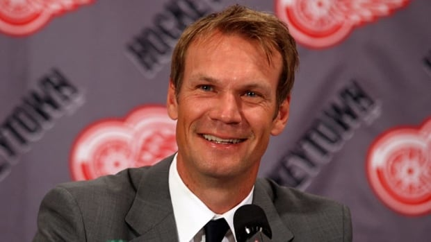 Detroit Red Wings defenceman Nicklas Lidstrom, seen here at the press conference announcing his retired from the NHL, will have his No. 5 retired by the Wings in a ceremony on March 6 prior to a game against the Avalanche.