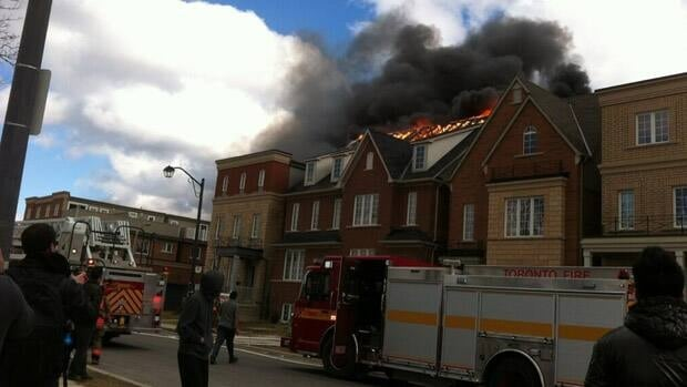 Twenty people have been displaced by a fire that broke out in a townhouse on Assiniboine Road on Monday afternoon.