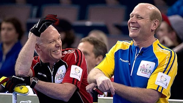 Glenn Howard, left, and Kevin Martin shared a laugh at the Brier in March, but they'll be among the rinks fiercely competing in December to claim Canada's Olympic berth.
