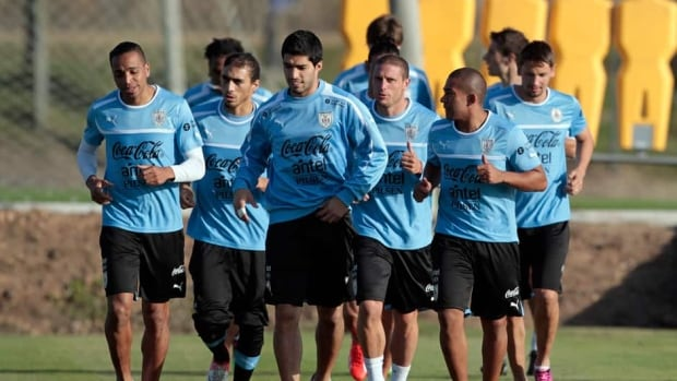 Members of Uruguay's national team during a training session in preparation for the World Cup qualifiers and the Confederations Cup.