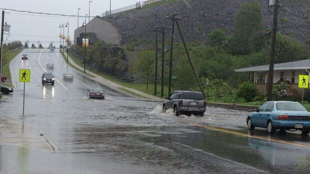 Retail Drive in Saint John is flooded. The CBC's Matthew Bingley said many cars are turning around.