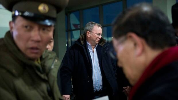 Google's executive chairman Eric Schmidt arrives at Pyongyang International Airport in North Korea on Monday. Schmidt is in North Korea with former New Mexico Gov. Bill Richardson.