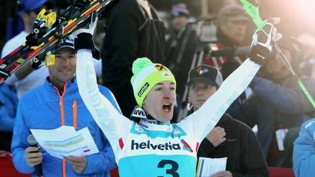 Austria's Kathrin Zettel reacts after winning in the women's World Cup slalom race in Aspen, Colo., on Sunday.