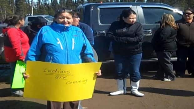 About 40 members of the Innu nation held a protest at the Muskrat Falls construction site on Thursday.