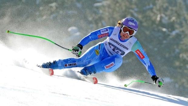 Slovenia's Tina Maze speeds down the course in Garmisch-Partenkirchen, Germany on Saturday.