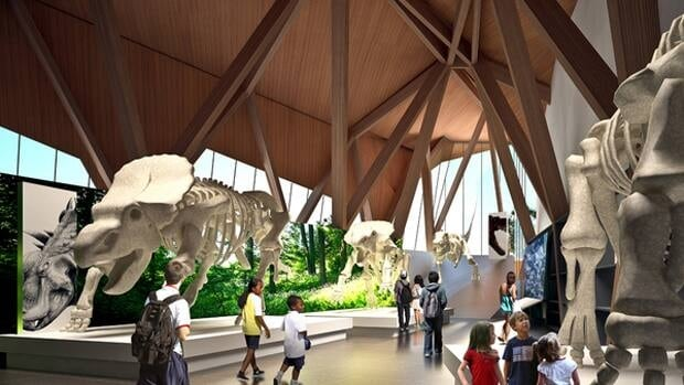 An architect's rendering shows the dinosaur gallery of the  Phillip J. Currie Dinosaur Museum.