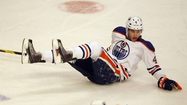 Taylor Hall, shown in this file photo, needed repairs after suffering a cut from a teammate's skate during warmups in Columbus on Tuesday.